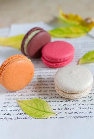 macarons: Autumnal composition of colorful macarons