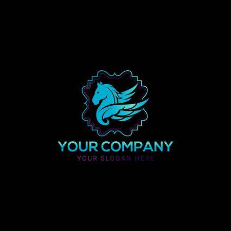 Wektor logo niebieski koń pegaz Logo