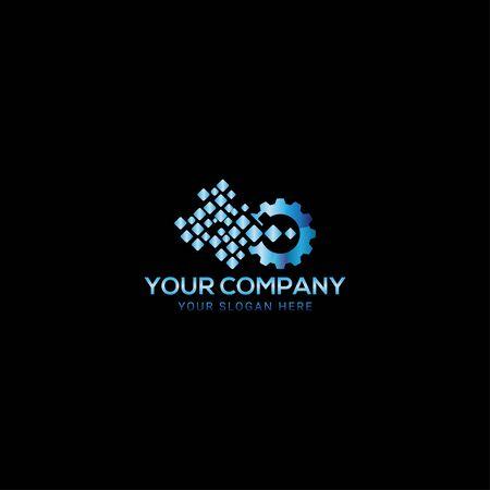 Creative digital gear pix elated logo design vector