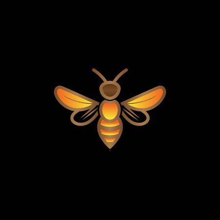 Creative bumble wasp hexagon bee logo vector