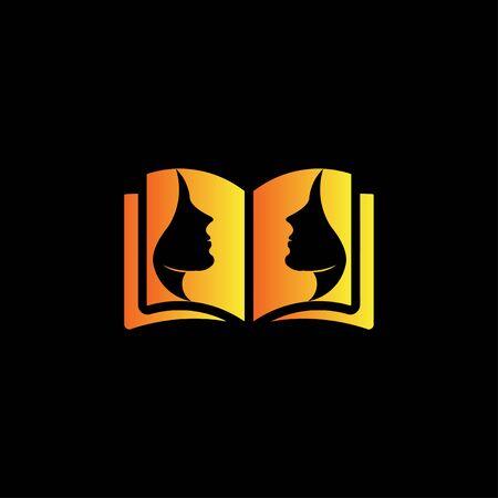 Creative beauty care open book logo design vector