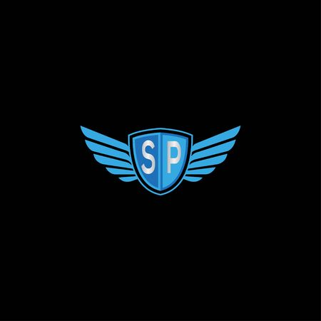 Creative shield wings SP letter logo design symbol vector