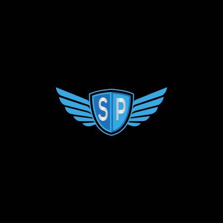 Kreativer Schildflügel SP Brief Logo Design Symbol Vektor Logo