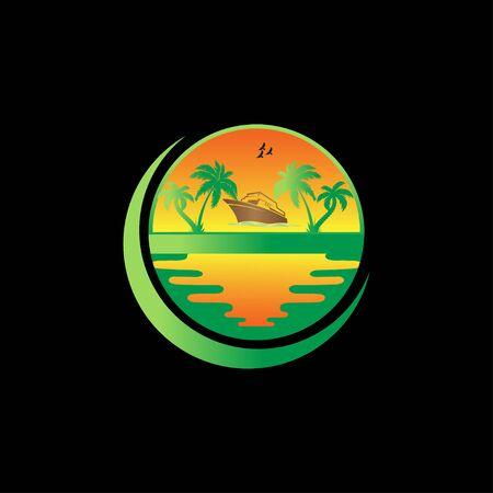 Creative summer sunset logo design vector
