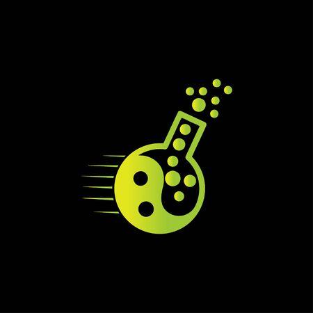 Creative abstract speed beaker lab logo design vector