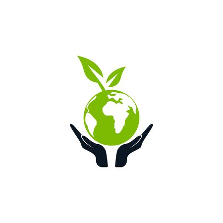 Green world on hand icon vector