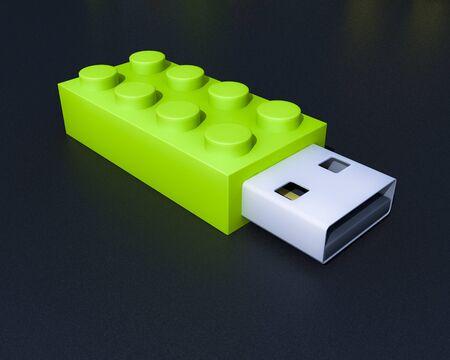 3D usb brick flash device on black background