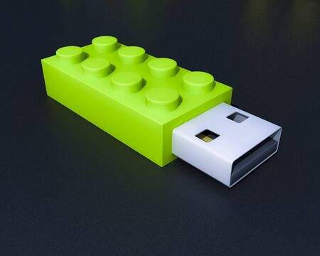 3D usb brick flash device on black background