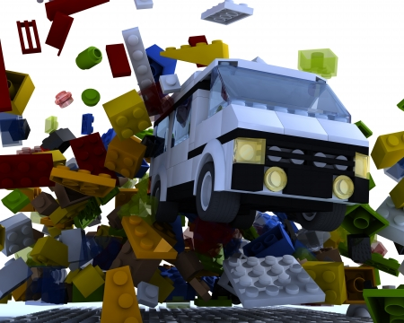 yellow lego block: Toy van hit blocks on white background Stock Photo