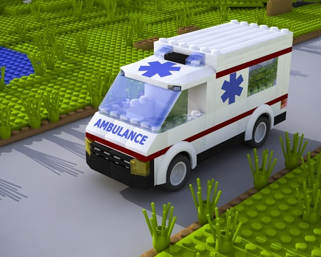 3D lego white ambulance car on road