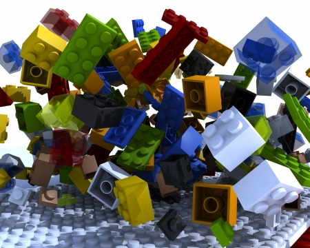 Bricks physics messed and levitate in 3d space