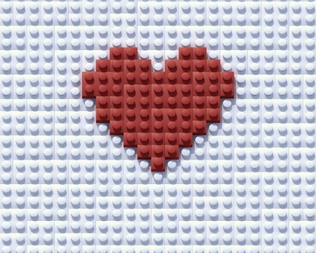Red Lego Love construction theme background composition