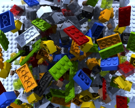 Plastic 3d toy bricks physics mess
