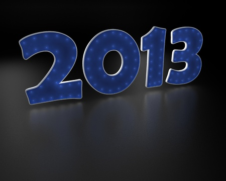 2013 year blue text  on black background