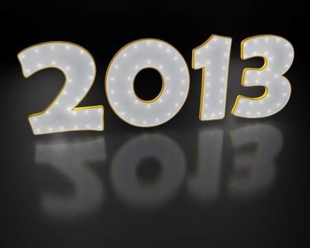 2013 year white text  on black background photo