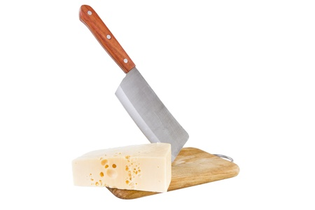 Cheese on table with steel knife, white background