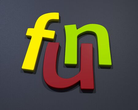3D Fun cololur word letters on noise background Stock Photo