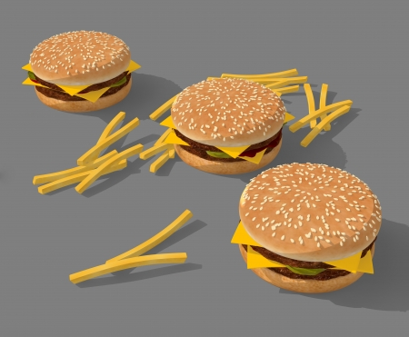 three big cheseburger and potato cartoon style Stock Photo