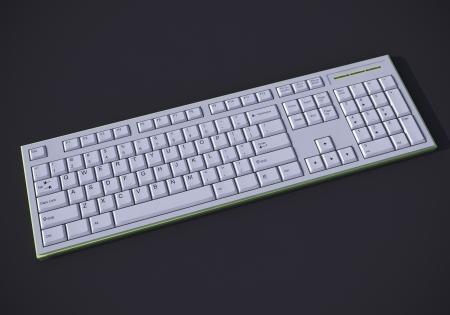 White 3D qwerty keyboard on dark background