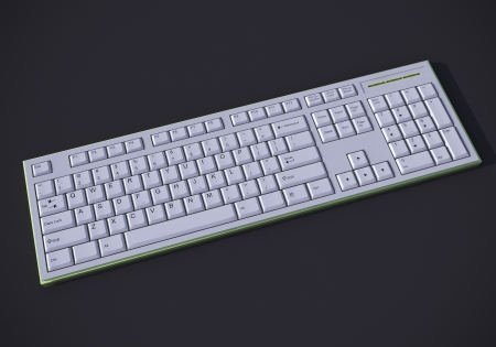 White 3D qwerty keyboard on dark background