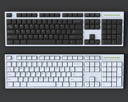 Black and white 3D qwerty keyboards on dark grey background Stock Photo