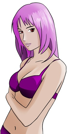 Pink Hair Anime girl in purple bikini photo
