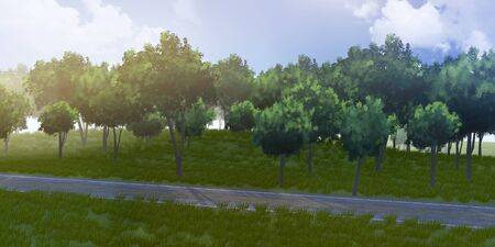 3D green thees and road with sky