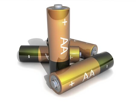 Group Four AA Gold Battery on white Backgound Stock Photo