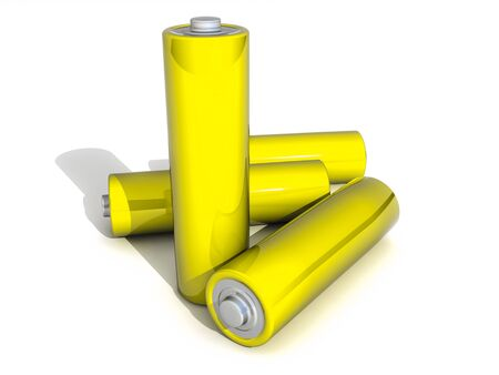 Four Yellow AA Battery on white Backgound