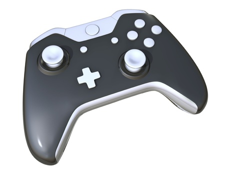One Black Game Controller on white background Stock Photo