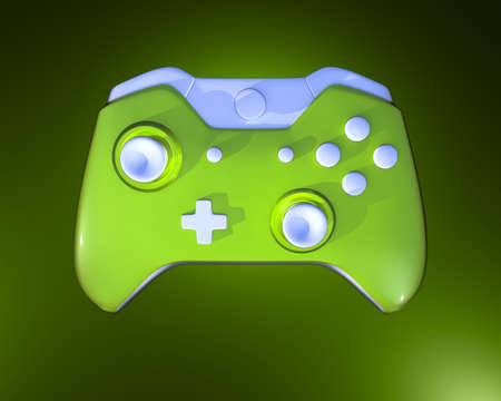 One Green Game Controller on glow background