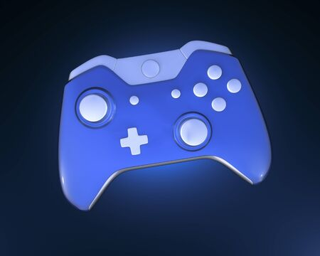 One Blue Game Controller on glow background
