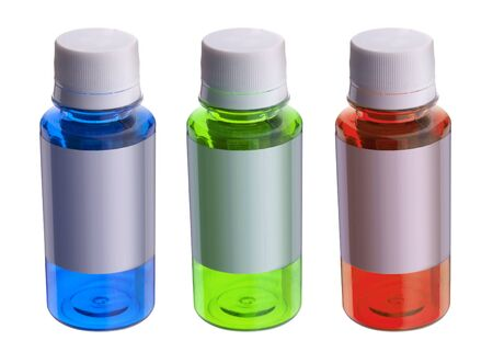 Three colour bottles blue green red isolates Stock Photo