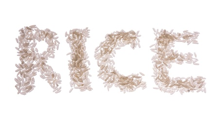Word Rice font isolated on white background