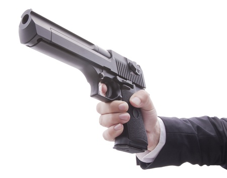 Desert Eagle Pistol in hand on white background
