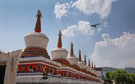 Ornaments of a Buddhist temple Stock Photo