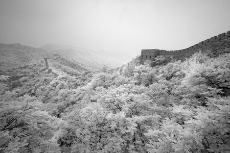 Infrared panorama of the Great Wall Stock Photo
