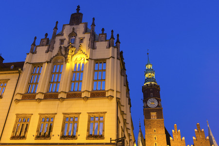 old town hall: Wrocław Old Town Hall in the evening, west elevation