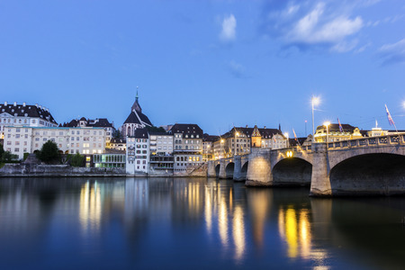 The Middle bridge on the Rhine in Basel in Switzerland Reklamní fotografie
