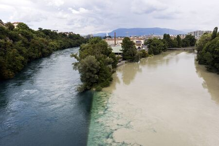 confluence: Confluence of the Rhone and Arve Rivers in Geneva, Switzerland