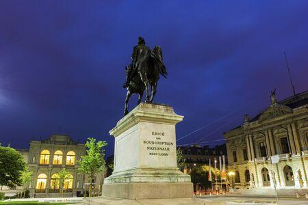 musique: Statue of General Dufour in Geneva in Switzerland Stock Photo