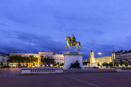 Equestrian statue of Louis XIV on the Place Bellecour in Lyon in France Reklamní fotografie
