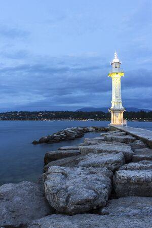 geneva: Paquis Lighthouse in Geneva, Switzerland Stock Photo