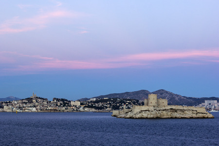 castle if: View on Marseilles city and Castle of If in France in the evening Editorial