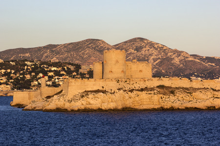 castle if: View on the lighthouse and Castle of If in Marseilles in France at sunset
