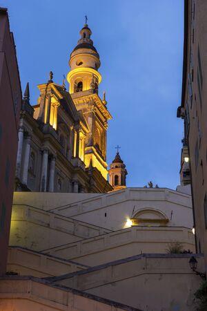 or san michele: Basilica di San Michele Arcangelo in Menton in France in the morning