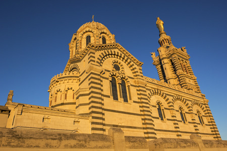 garde: View on Notre-Dame de la Garde in Marseilles in France in the morning Stock Photo