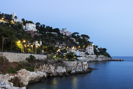french riviera: French Riviera coast in the evening Stock Photo