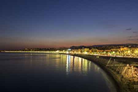 french riviera: View on Nice on French Riviera in the evening