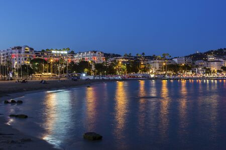 french riviera: View on Cannes on French Riviera in the evening